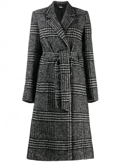 Karl Lagerfeld - tailored check coat - women - other fibers/Cotton/Polyester/Alpaca - 38 - Black