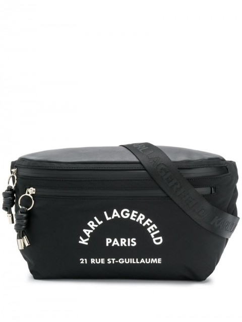 Karl Lagerfeld - Rue St Guillaume big bumbag - unisex - Polyester/Leather - One Size - Black