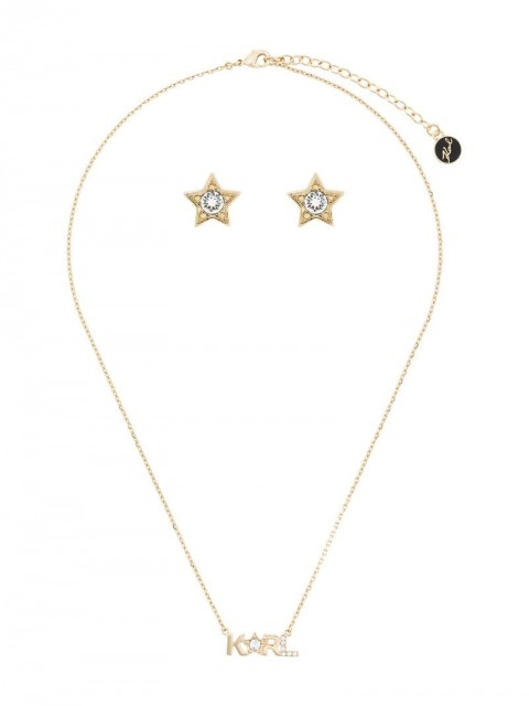 Karl Lagerfeld - crystal star stud and necklace set - women - Crystal/Brass - One Size - GOLD