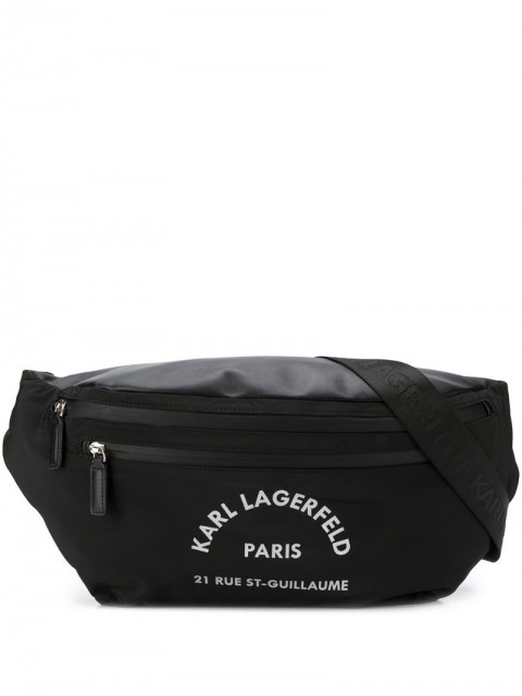 Karl Lagerfeld - Rue St Guillaume logo bumbag - women - Polyester/Calf Leather - One Size - Black