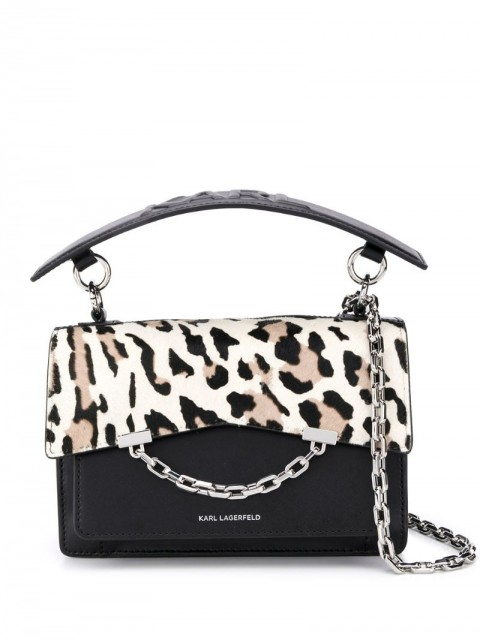 Karl Lagerfeld - K/Karl Seven leopard-print shoulder bag - women - Leather/Calf Hair - One Size - Black