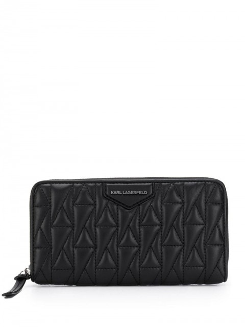Karl Lagerfeld - logo quilted continental wallet - women - Leather - One Size - Black