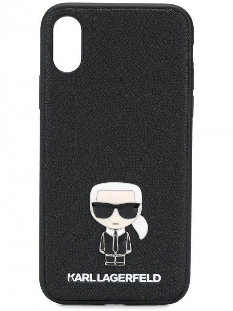 Karl Lagerfeld - iPhone X/XS Ikonik Pin case - women - Polyurethane - One Size - Black