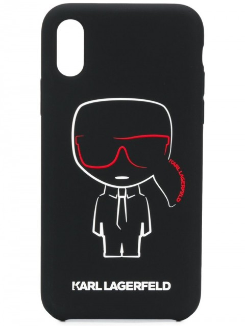 Karl Lagerfeld - iPhone X/XS Karl Ikonik Outline case - women - Acrylic/Silicone/Mineral Oil/Microfibre - One Size - Black
