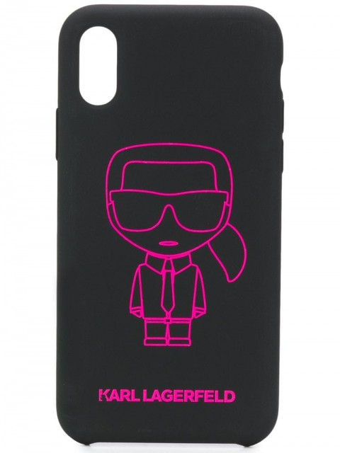 Karl Lagerfeld - iPhone X/XS Ikonik Outline case - women - Acrylic/Silicone/Mineral Oil/Microfibre - One Size - Black