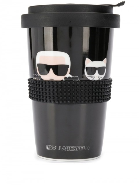 Karl Lagerfeld - cartoon coffee cup - unisex - Porcelain - One Size - Black