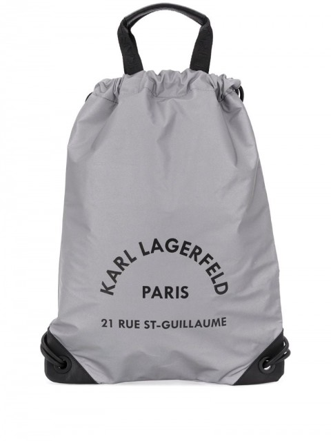 Karl Lagerfeld - Rue Saint Guillaume drawstring backpack - women - Calf Leather/Polyamide - One Size - SILVER