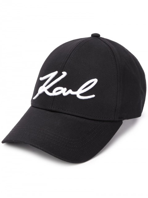 Karl Lagerfeld - logo embroidered panelled cap - women - Cotton - One Size - Black