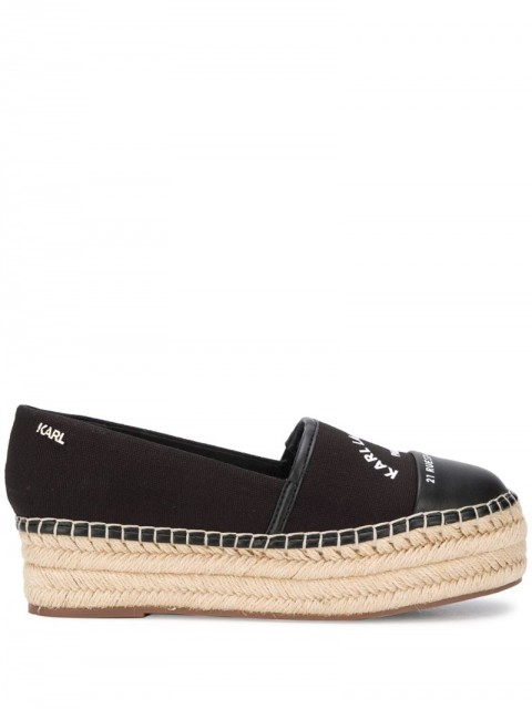 Karl Lagerfeld - logo print espadrilles - women - Cotton/Leather/Rubber - 40 - Black