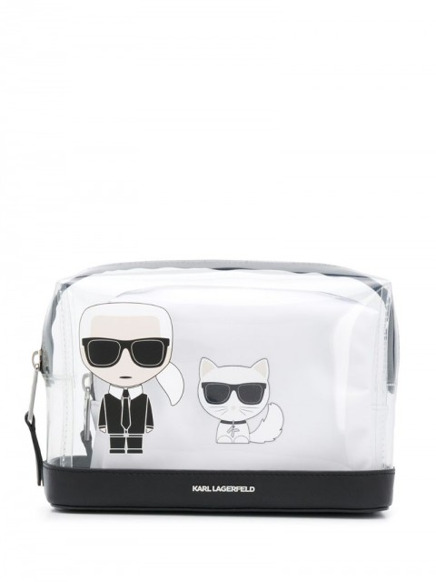 Karl Lagerfeld - K/Ikonik transparent make-up pouch - women - Calf Leather/Polyamide/Polyurethane - One Size - White