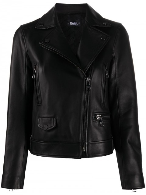 Karl Lagerfeld - off-centre zipped biker jacket - women - Lamb Skin/Acetate/Viscose - 38 - Black