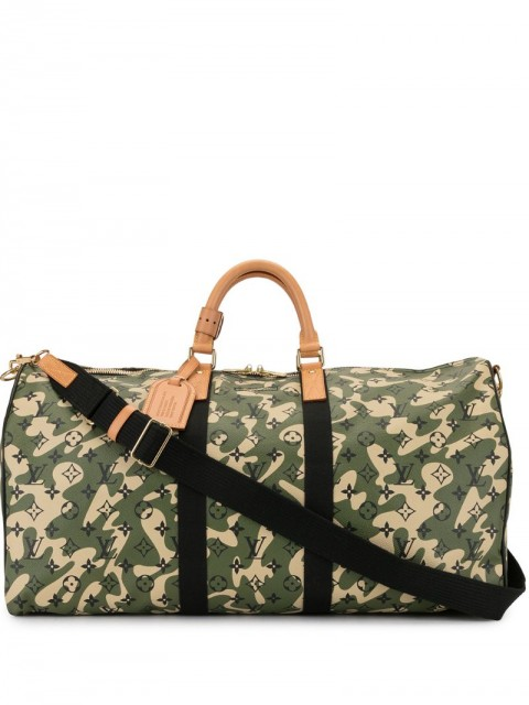 Louis Vuitton - x Takashi Murakami pre-owned Keepall Bandouliere 55 traveling bag - men - Leather - One Size - Green