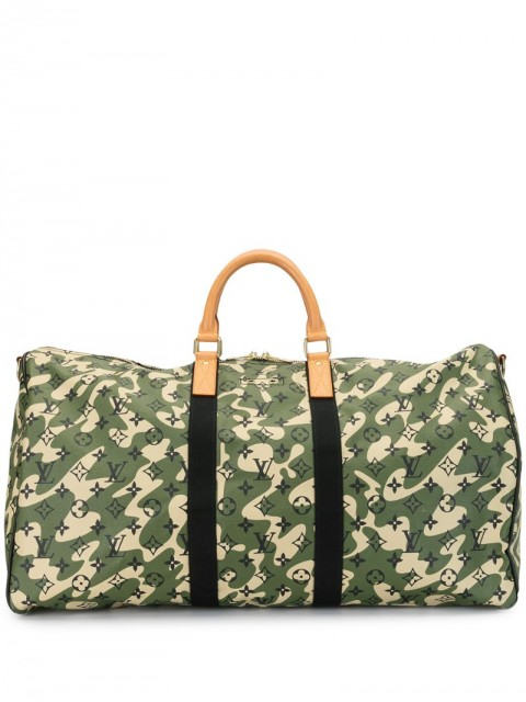 Louis Vuitton - x Takashi Murakami 2008 pre-owned Keepall Bandouliere 55 - men - Leather/PVC - One Size - Black