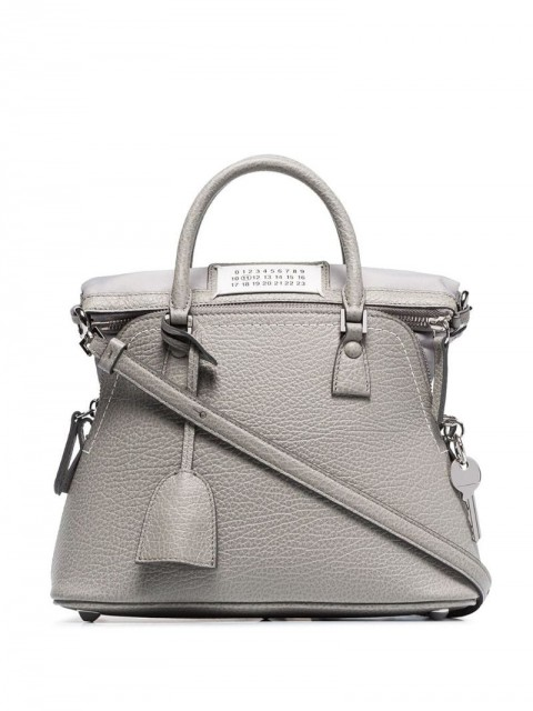 Maison Margiela - hanging tag tote bag - women - Cotton/Calf Leather - One Size - Grey