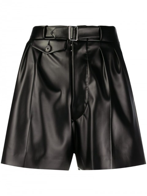 Maison Margiela - high-waisted belted shorts - women - Cotton/Polyester/Polyurethane - 42, 38, 40 - Black