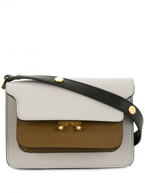 Marni - Trunk shoulder bag - women - Calf Leather/metal/Polyester/Cotton - One Size - Grey
