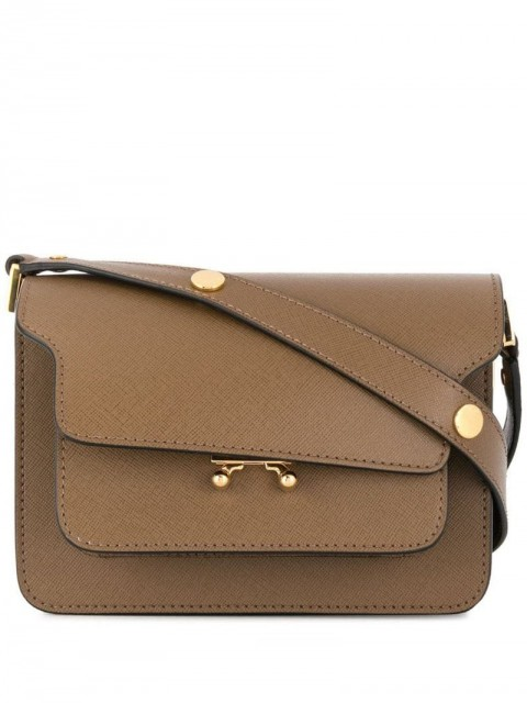 Marni - small Trunk bag - women - Brass/Calf Leather - One Size - Brown