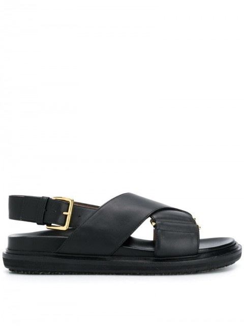 Marni - buckle strap sandals - women - Leather/Calf Leather/Rubber - 36, 39, 38, 35, 37, 40, 37.5, 36.5, 35.5, 41 - Black