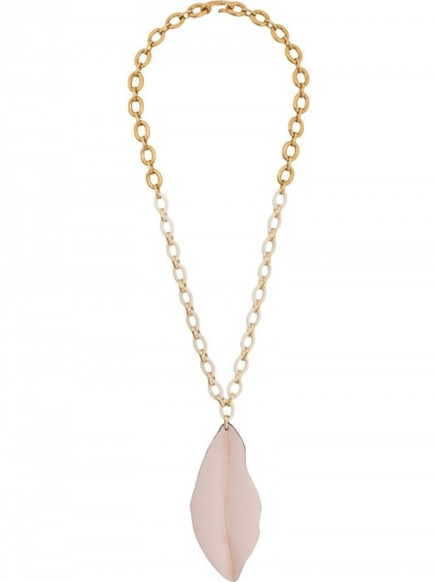 Marni - Nature leaf-shaped long pendant necklace - women - Calf Leather/metal - One Size - GOLD