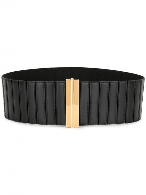 Marni - clasp fastening belt - women - Calf Leather/Brass/Spandex/Elastane - M - Black