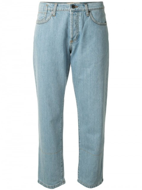 Marni - cropped straight-fit jeans - women - Cotton/Buffalo Leather - 24, 26, 27, 28, 25, 29, 30 - Blue