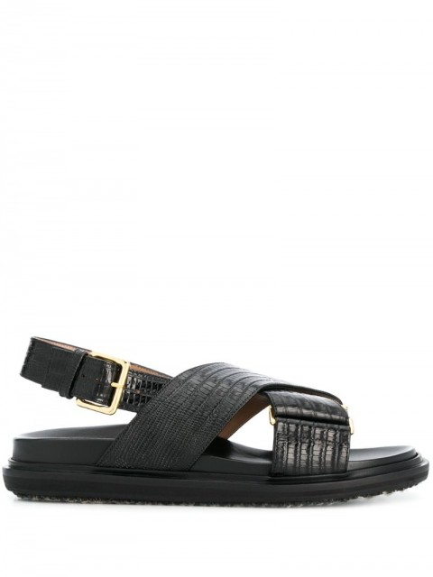 Marni - embossed strap sandals - women - Calf Leather/Leather/Rubber - 35.5, 36, 36.5, 38.5 - Black