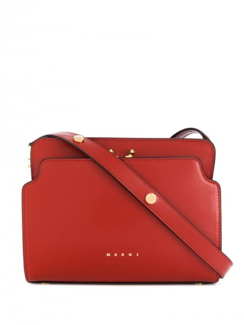 Marni - logo-print shoulder bag - women - Leather - One Size - Red