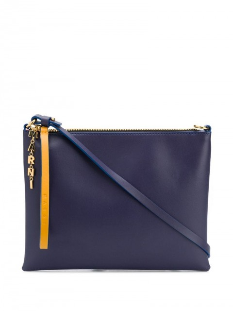 Marni - two-tone zip clutch bag - women - Cotton/Calf Leather/Brass - One Size - Grey