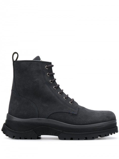 Moncler - lace-up ankle boots - men - Calf Leather/Leather/Rubber - 40, 41, 42, 46 - Grey