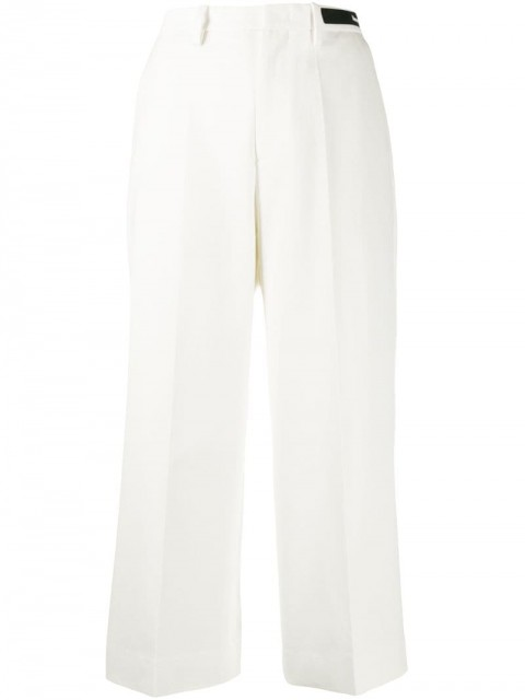 Moncler - straight cropped trousers - women - Cotton - 44, 38, 40, 42 - White
