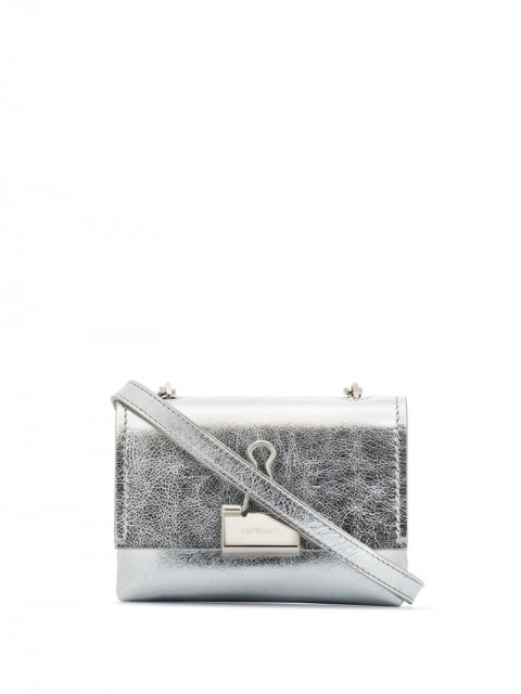 Off-White - small Binder Clip crossboody bag - women - Leather - One Size - Metallic