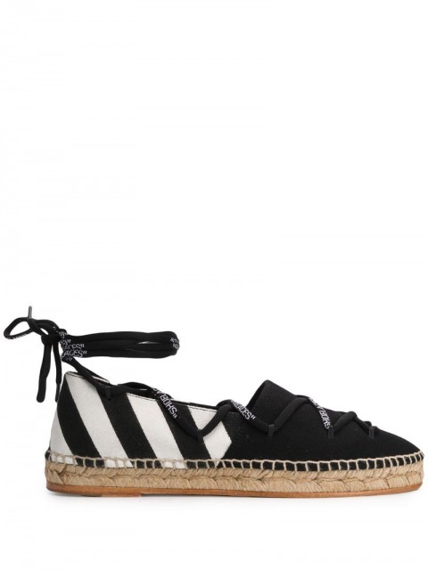 Off-White - diagonal stripe tie espadrilles - women - Cotton/Leather - 35, 36, 41, 37, 40, 38, 39 - Black
