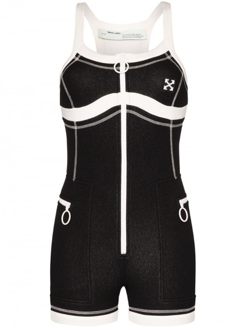Off-White - Scuba surfer playsuit - women - Polyester/Polyurethane - 42 - Black