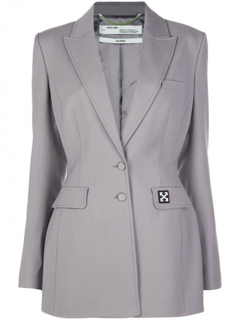 Off-White - Arrows-logo suit jacket - women - Viscose/Virgin Wool/Elastane - 42, 44 - Grey
