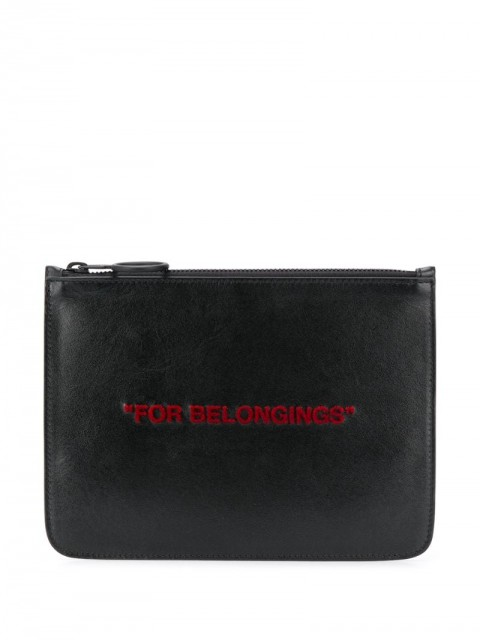 Off-White - For Belongings zipped clutch - men - Leather - One Size - Black