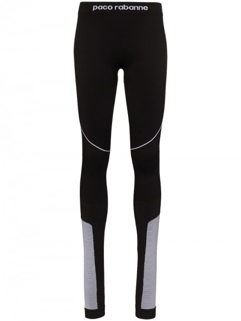 Paco Rabanne - panelled logo-detailed leggings - women - Polyamide/Polypropylene/Spandex/Elastane - M - Black