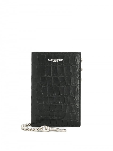 Saint Laurent - embossed chain wallet - men - Leather - One Size - Black