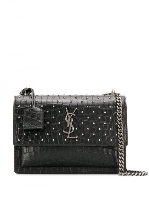 Saint Laurent - Sunset stud-embellished shoulder bag - women - Calf Leather - One Size - Black