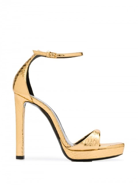 Saint Laurent - metallic 120 sandals - women - Calf Leather/Leather - 38.5, 39, 35, 35.5, 36, 36.5, 38, 39.5, 37, 37.5 - GOLD