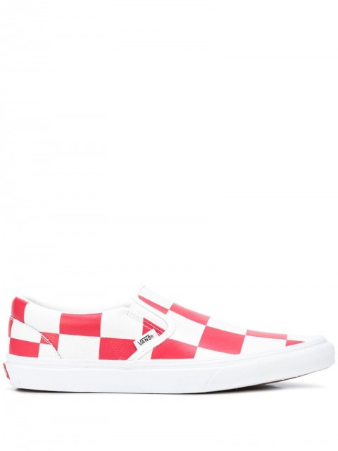 Vans - Classic checkerboard slip-on trainers - men - Leather/Canvas/Rubber - 4, 4.5, 5, 7, 7.5, 8, 10.5, 11 - White