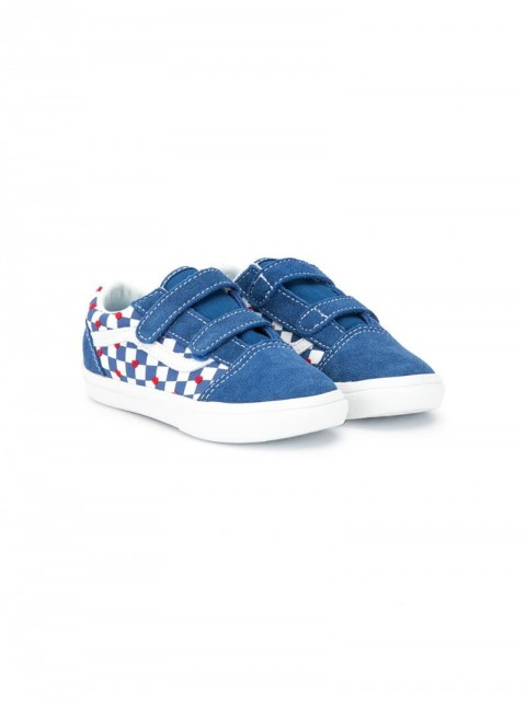 Vans Kids - touch strap low-top sneakers - kids - Leather/Canvas/Rubber/Fabric - 3 Inf, 7 Tod - Blue