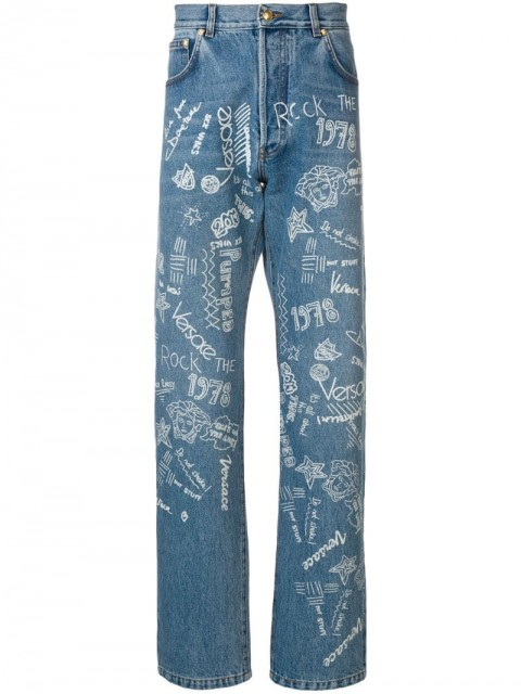 Versace - Love From Donatella jeans - men - Cotton/Polyester/Calf Leather - 31 - Blue