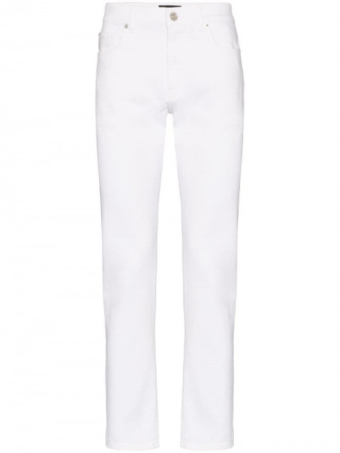 Versace - slim-fit straight jeans - men - Cotton/Polyester/Elastane - 29, 30, 31, 32, 33 - White