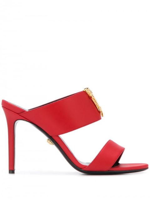 Versace - Virtus strappy mules - women - Leather - 37, 38, 39, 36.5, 37.5, 38.5, 39.5, 40, 36, 40.5 - Red