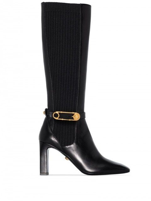 Versace - 90mm knee-high safety pin boots - women - Leather/Polyamide/Rubber - 36, 36.5, 37, 37.5, 38, 38.5, 39, 39.5, 40, 41 - Black