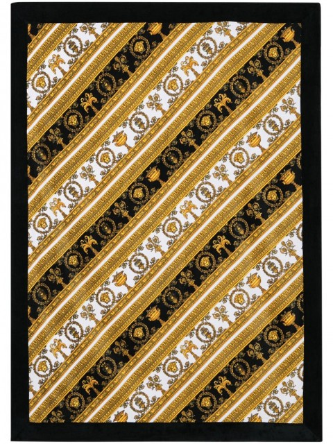 Versace - baroque-print beach towel - women - Cotton - One Size - Black