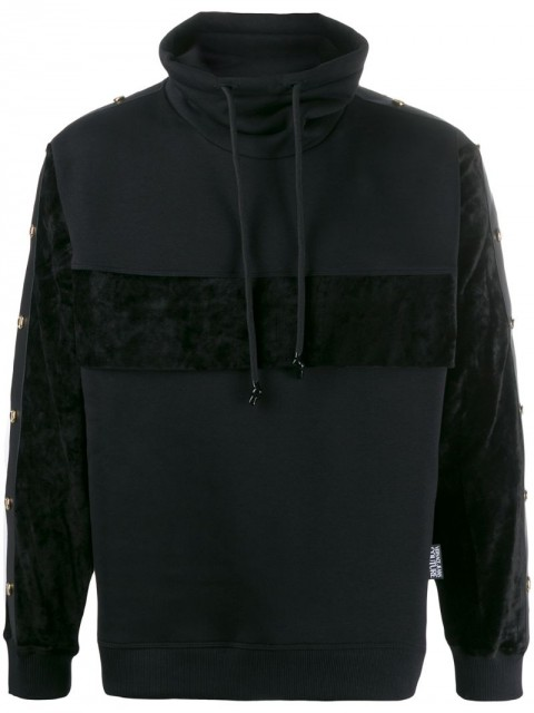 Versace Jeans Couture - high-neck side stripe sweatshirt - men - Cotton/Polyamide/Polyester/Viscose - S, M, L - Black