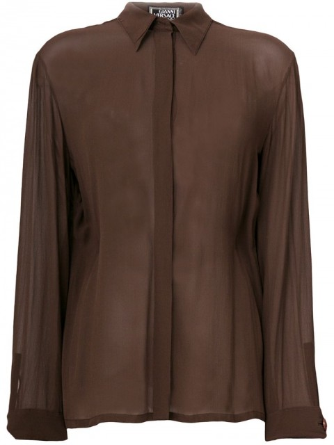 Versace Pre-Owned - concealed fastening sheer shirt - women - Silk - 44 - Brown