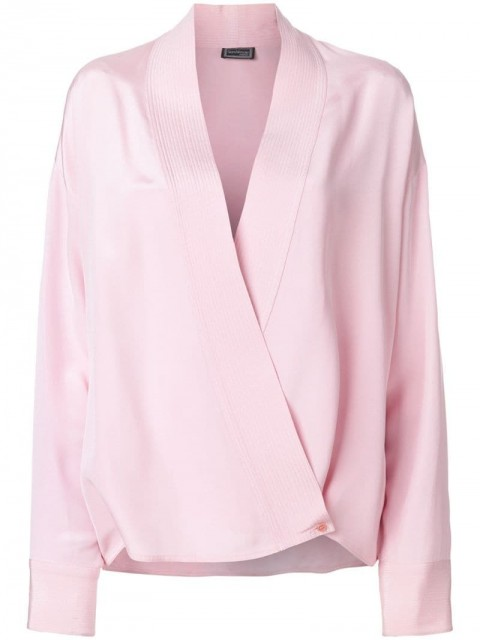 Versace Pre-Owned - wrap front shirt - women - Silk - 44 - PINK