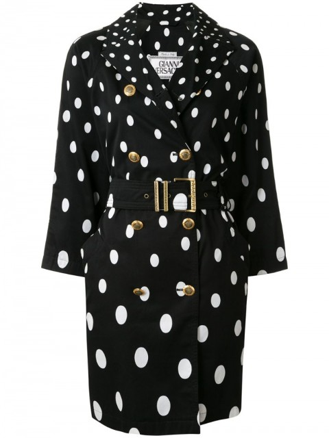 Versace Pre-Owned - polka dot trench coat - women - Cotton - 38 - Black